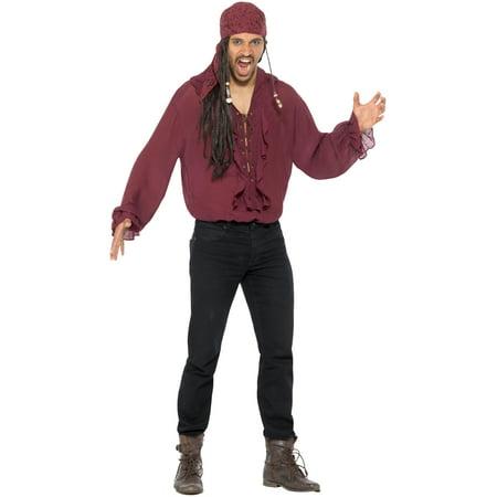 Men's Seafaring Pirate Dark Red Deckhand Buccaneer Shirt Costume Large 42-44](Pirate Costume Shirt)