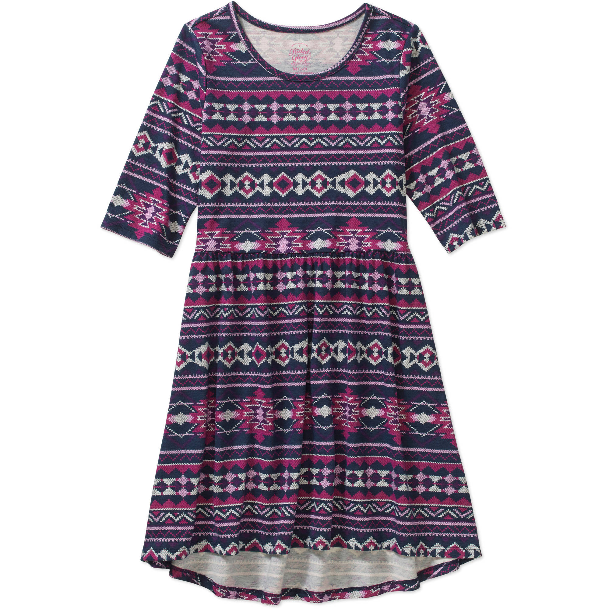 Faded Glory Girls' Elbow Sleeve Hi Lo Dress