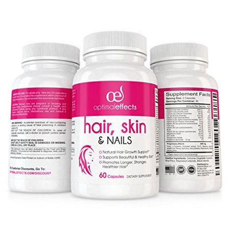 Human Growth Complex Side Effects - Hair Growth Formula for Longer, Stronger, Healthier Hair and Nails by Optimal Effects - Formulated with Biotin, Keratin, Niacin & More (60 Veggie Capsules)