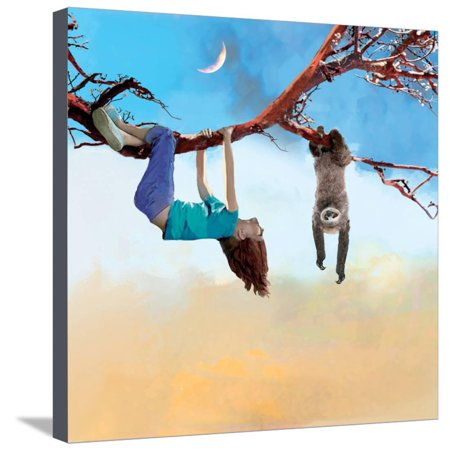 My Sloth Friend Children Fantasy Dream Scene Stretched Canvas Print Wall Art By Nancy - Dreams Canvas Wall