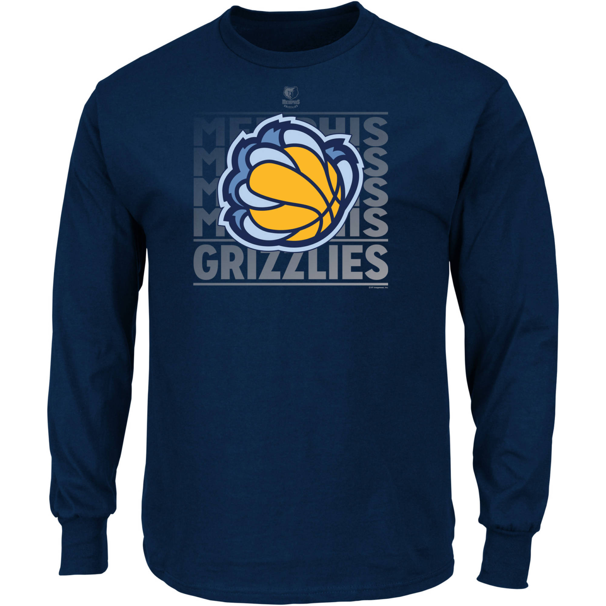 NBA Memphis Grizzlies Men's Long Sleeve Crew Neck Basic Tee