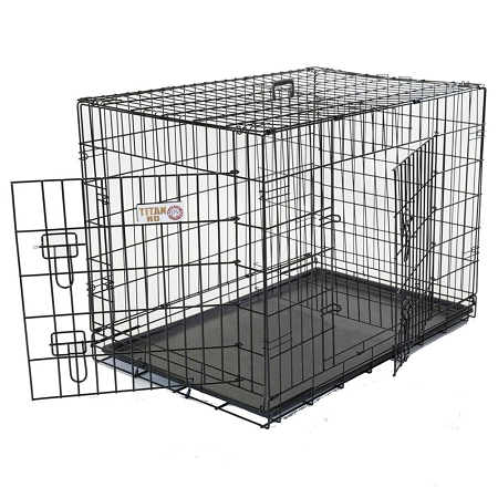 Folding Double Door Dog Crate Cage (24 in. L x 18 in. W x 21 in. H (16 lbs.))