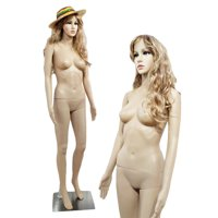 Zimtown Adjustable Full Body Female Mannequin Realistic Shop Display Head Turns Manikin Dress Form w/ Base
