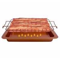 Gotham Steel Bacon Bonanza XL, 18-Slice Nonstick Copper 2-Piece Set, Includes Bacon Cooker and Drip Tray