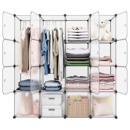 16-Cube Organizer Stackable Plastic Cube Storage Shelves Design Multifunctional Modular Closet Cabinet with Hanging Rod for Clothes Shoes Toys Bedroom Living Room ()