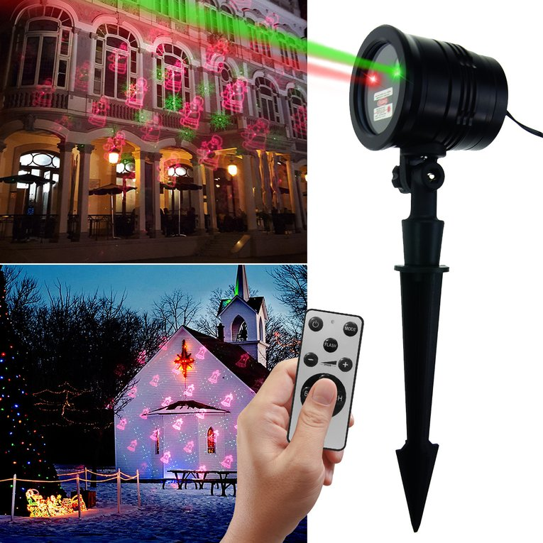 RF Remote Outdoor Flood Light Waterproof Laser Flood Light Red and Green Laser Light with Christmas Patern