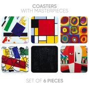 Table Wine Coasters for Drinks, 6 Pcs Cork Back Coasters with Prints, Art Series Bar/Table Coasters, Gifts for Hostess, Birthday/Christmas/Housewarming/Greeting Present for Drink Lovers (Abstract-2)