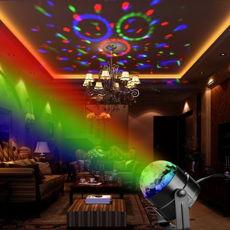 Zimtown Ball 7 Color Changes Sound Actived Auto Flash RGB Mini Rotating Magic Ball Stage Lights For KTV Xmas Party Wedding Show Club Pub Disco DJ Lighting Show (Without Remote Contorl)](Mini Disco Ball)