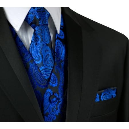 Italian Design, Men's Formal Tuxedo Vest, Tie & Hankie Set for Prom, Wedding, Cruise in Royal Blue -