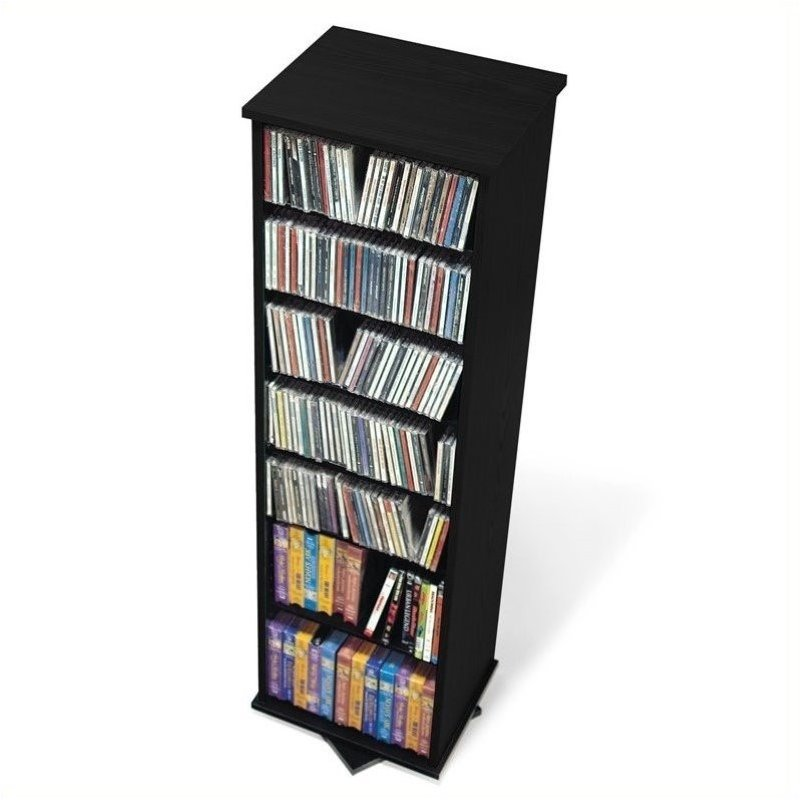 "Hawthorne Collections 53"" 2-Sided Media Spinning Tower in Black"