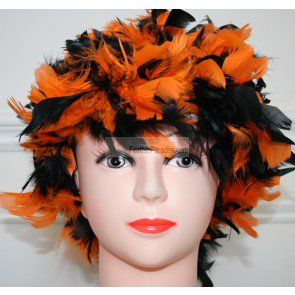 Mix Orange and Black Chandelle Feather Wig Halloween Costume Wig (Electro Mix Halloween)