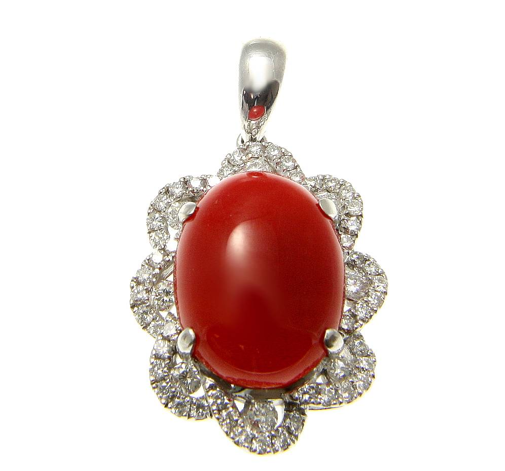 Genuine natural red coral diamond pendant set in solid 14k white gold 16mm by