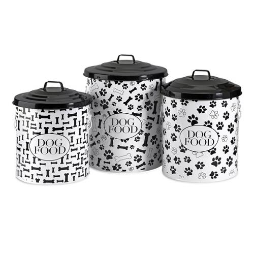 Set of 3 Decorative Lidded Dog Food Storage Containers - 19""