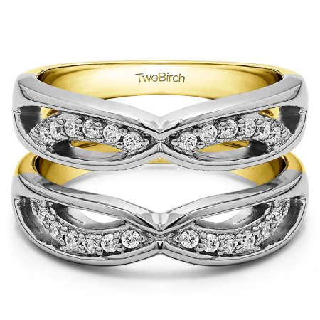 Criss Cross Anniversary Style Jacket Ring Guard in Sterling Silver (0.24ctw)
