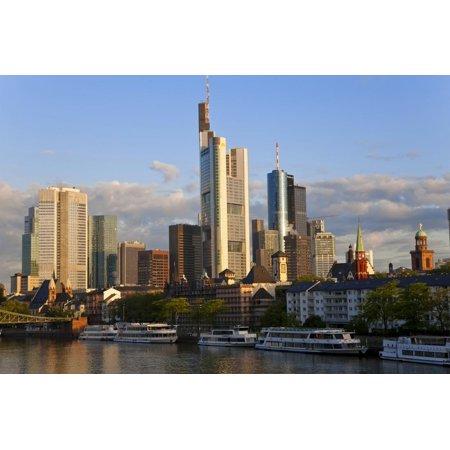 Skyline and Main River in Morning, Frankfurt, Hesse, Germany, Europe Print Wall Art By Peter Adams - Halloween Frankfurt Germany