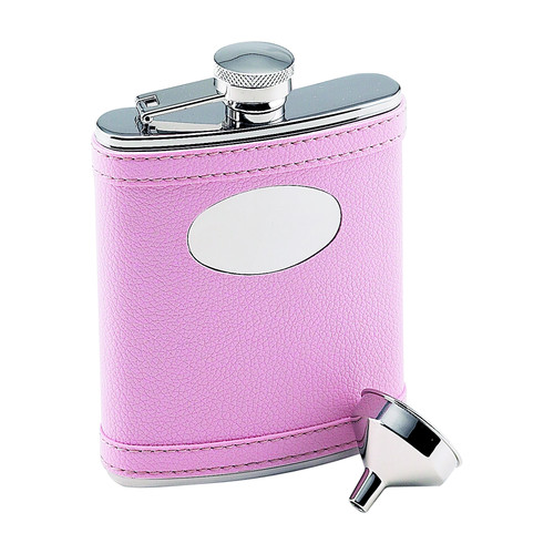 Creative Gifts Pink Flask W/ Engraving Plate, Ss 6 Oz
