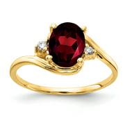 Primal Gold 14 Karat Yellow Gold 8x6mm Oval Garnet and Diamond Ring