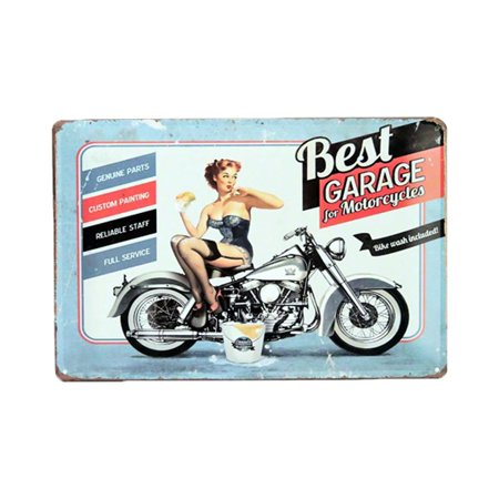 Pin-Up Girl Best Garage Motorcycles Bike Wash Tag 11.75