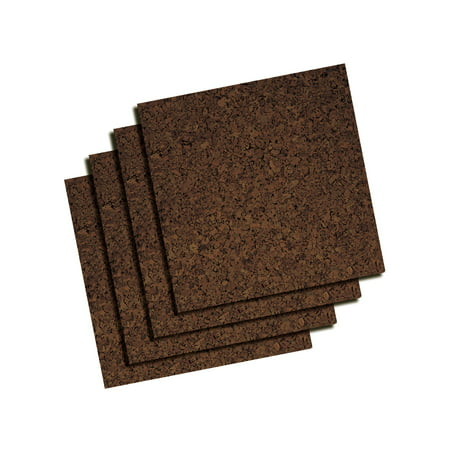 "Quartet Dark Cork Tiles, 12"" x 12"", Frameless, Modular, 4 Pack (15050Q)"