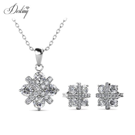 Destiny Jewellery Crystals from Swarovski Jewelry Set with 18k White Gold Plated, Pendant Earrings Set Charm Snowflake Shape Design for Women - image 9 of 9