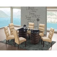 """Olivia 7-Piece Dining Set, Cappuccino Wood & Gray Faux Leather, Transitional, 71"""" Rectangular, (Pedestal Table & 6 Upholstered Parsons Chairs)"""