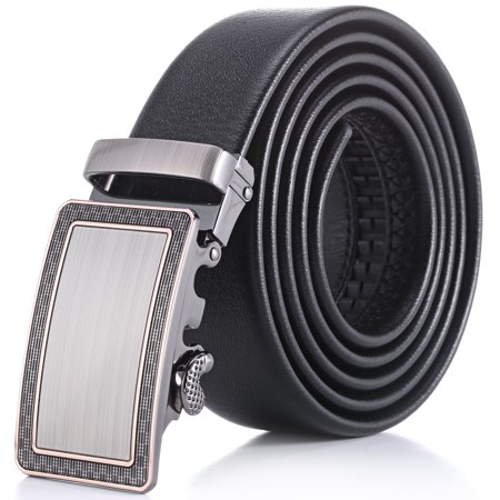 Marino Mens Leather Belt, Soft Leather Ratchet Dress Belt With Automatic Buckle - Enclosed In An Elegant Gift Box - Ornate Outline Ratchet Belt - Black - Fits waist sizes up to 54