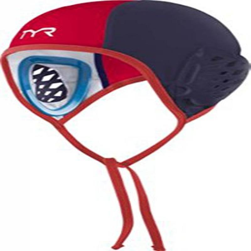 TYR Destroyer Water Polo Goalie Single Cap, Navy Red by