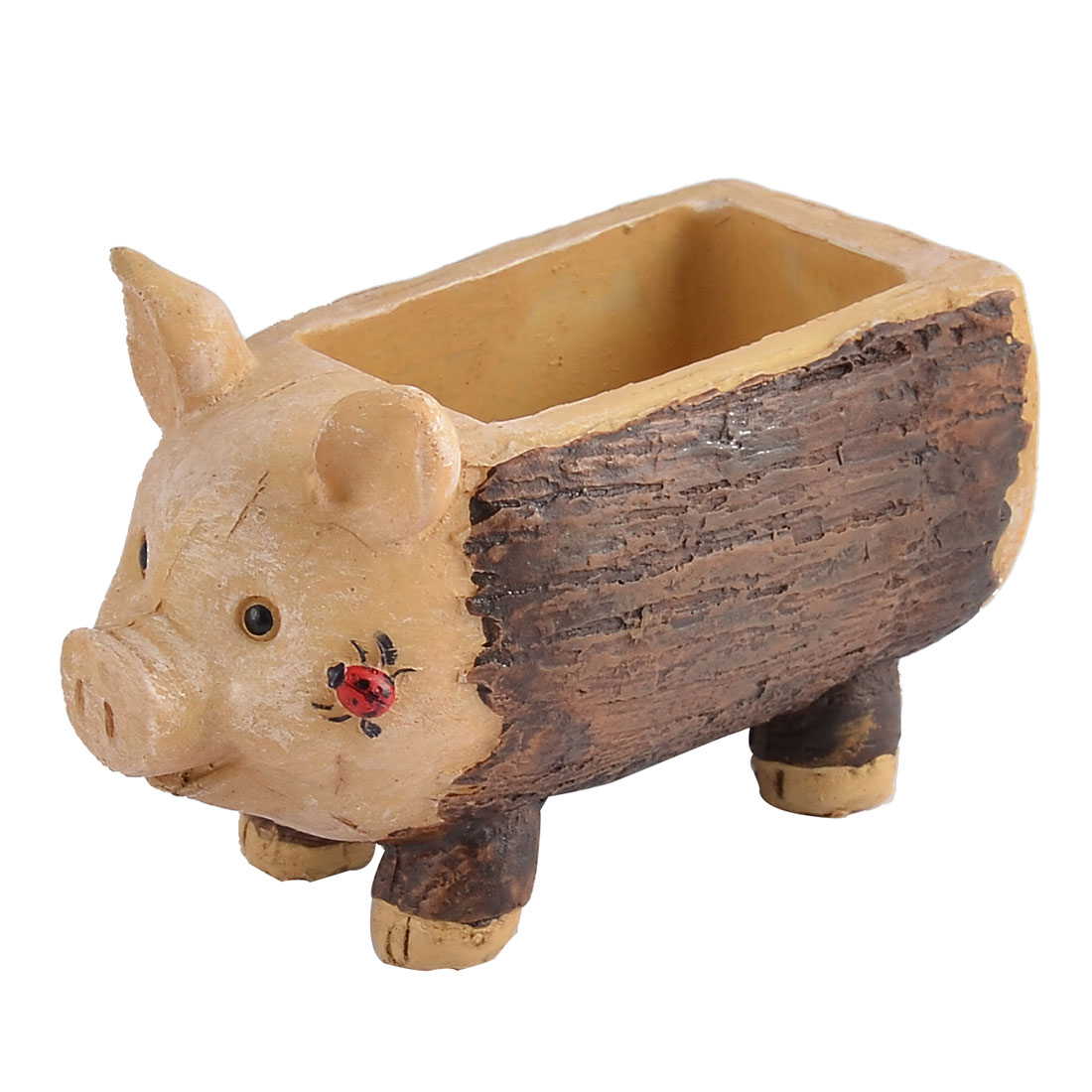 Household Office Resin Pig Shaped Aloes Cactus Plant Flower Pot Brown