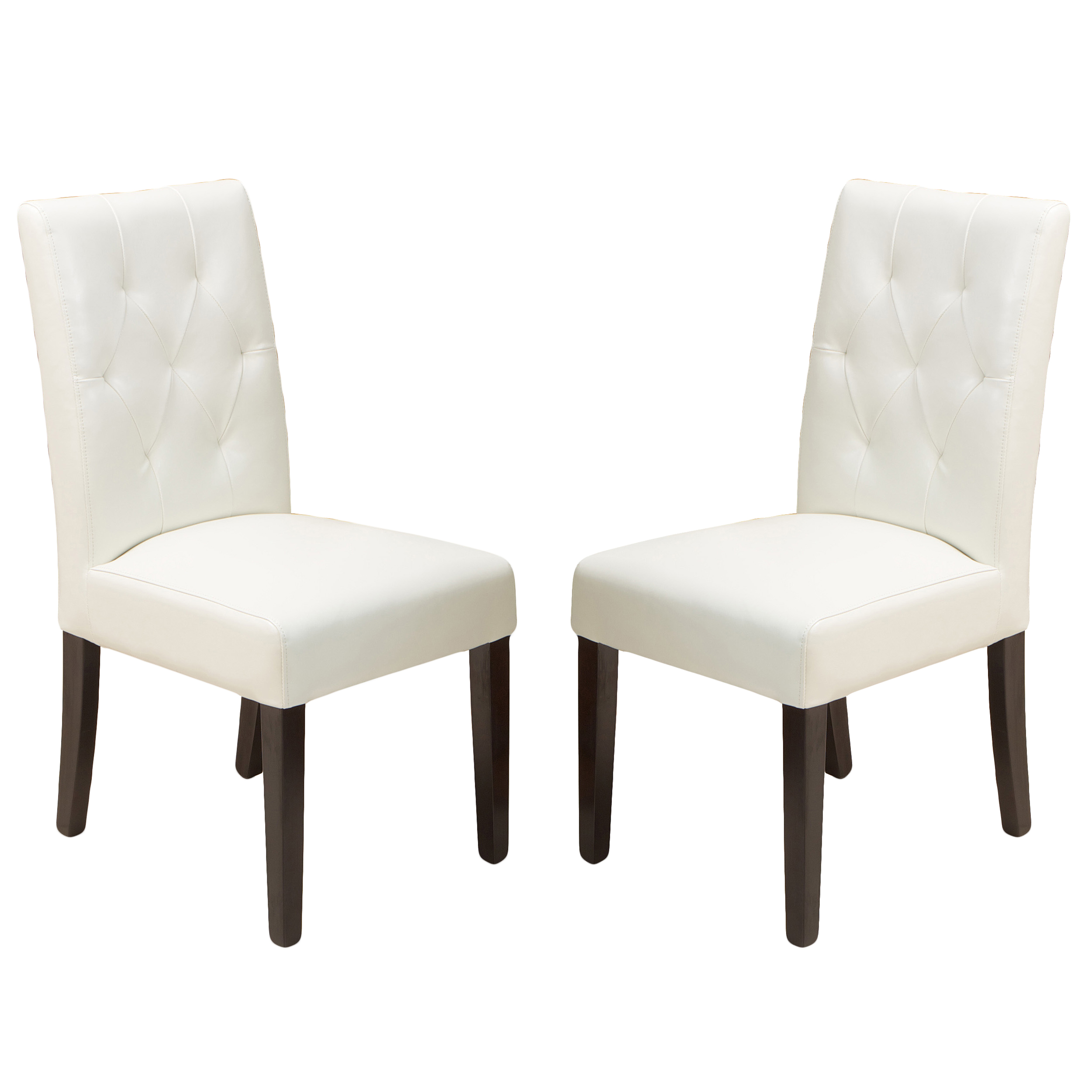 Falo Bonded Leather Ivory Dining Chair (Set of 2) by GDF Studio