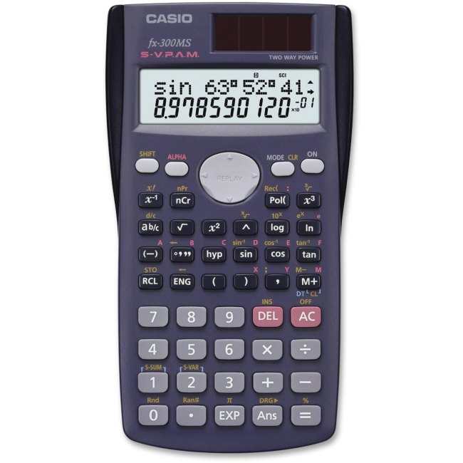 Casio FX-300MS Scientific Calculator - 229 Functions - 7 KB - 2 Line(s) - 10 Digits - LCD - Battery/Solar Powered - 0.4