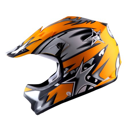 WOW Youth Kids Motocross Helmet BMX MX ATV Dirt Bike Star Matt (Atv Off Road Helmet)