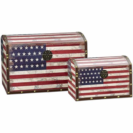 Household Essentials Decorative Storage Trunk, Red White and Blue Design, Set of 2 (Rustic Trunk)