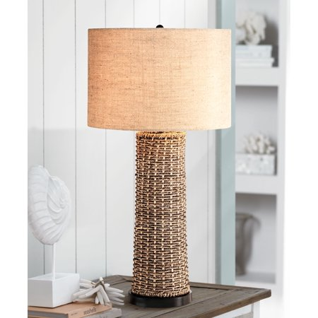 360 Lighting Coastal Table Lamp Woven Seagrass Burlap Drum Shade for Living Room Family Bedroom Bedside Nightstand Office