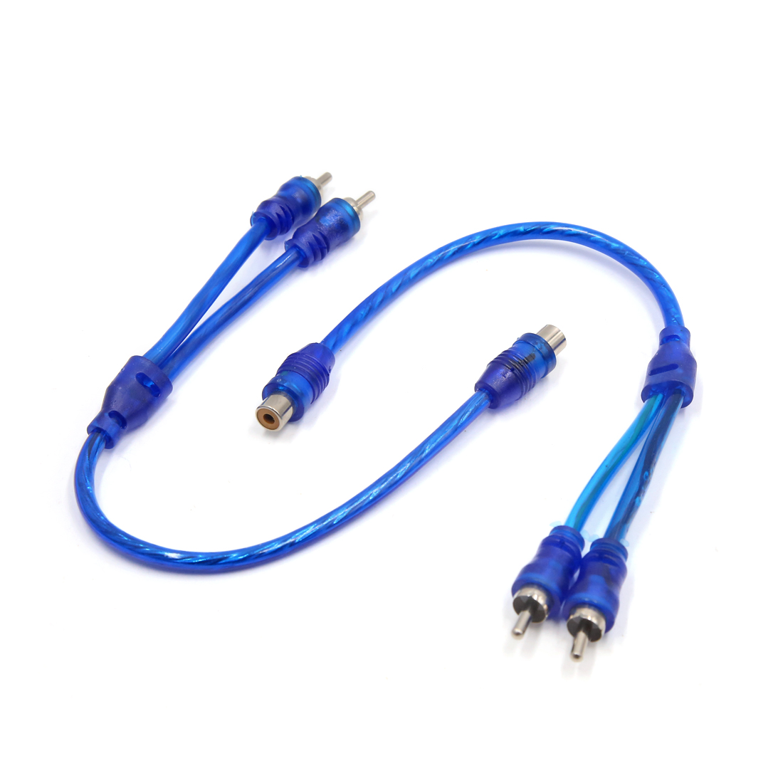 2Pcs 31cm Female to 2 Male RCA Splitter Adapter Audio Y Cable Wire for Car Blue