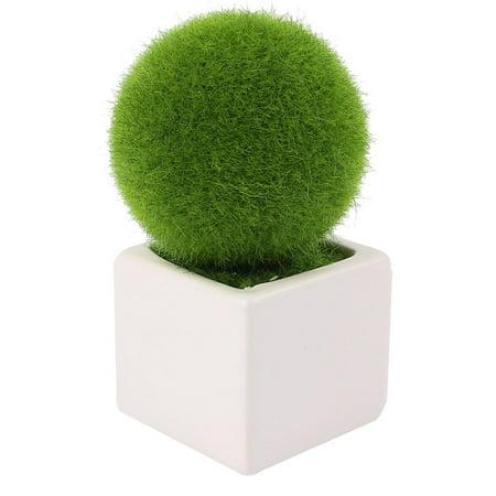 Unique Bargains Bedroom Office Plastic Solid Round Ball Design Plant Pot Bonsai Table