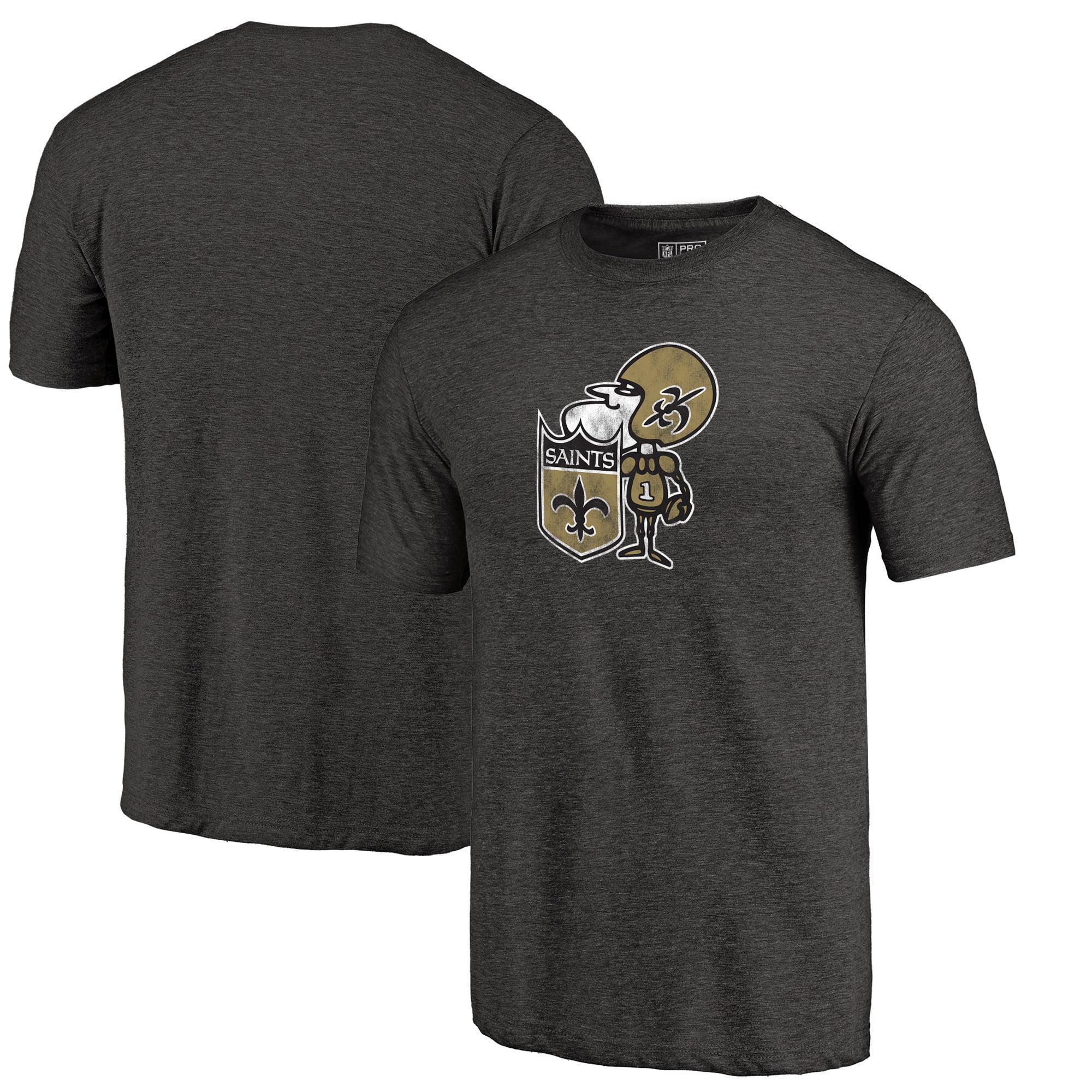 New Orleans Saints NFL Pro Line by Fanatics Branded Throwback Logo Tri-Blend T-Shirt - Black