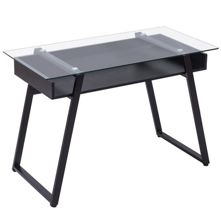 home glass top writing study computer desk. Black Bedroom Furniture Sets. Home Design Ideas