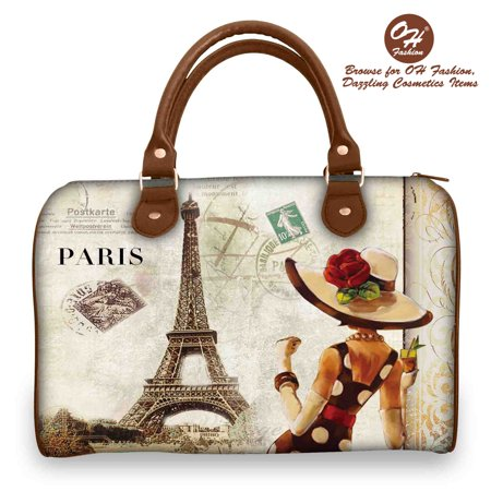 OH Fashion Women Handbag Satchel Bag LADY IN PARIS PU Leather Barrel Handbag Shoulder Bag Tote Purse Cities Design Travel Bag All Around the World Collection