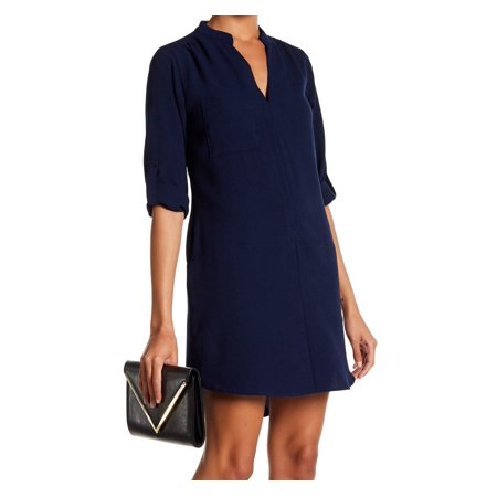 Women's Medium Split-Neck Pocket Shift Dress M