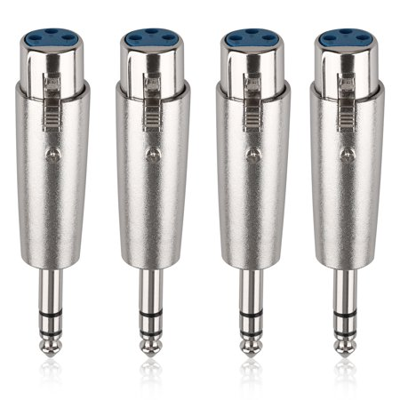 "4 Pack 3-Pin XLR Female to 1/4"" 6.35mm Mono Male Plug Audio Cable Mic Adapter"