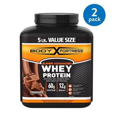 (2 Pack) Body Fortress Super Advanced Whey Protein Powder, Chocolate, 60g Protein, 5