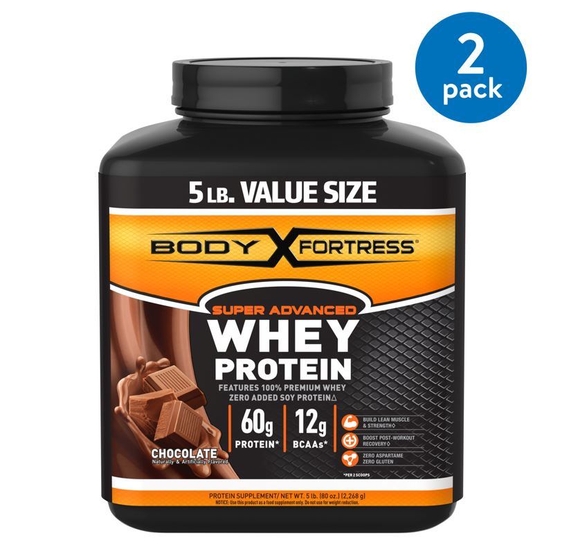 (2 Pack) Body Fortress Super Advanced Whey Protein Powder, Chocolate, 60g Protein, 5 Lb