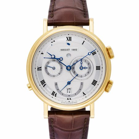 Pre-Owned Breguet Classique 5707 Gold  Watch (Certified Authentic & Warranty) Breguet, Classique, 5707, Automatic Self Wind, Used, Production Year:2004, Case Material: Yellow Gold, Bezel Material: Yellow Gold, Dial Type: Analog, Dial Color: Silver, Band Color: Brown, Band Width: 20.0mm, Band Length: 0.0in, Box And Papers, External Condition: Excellent,