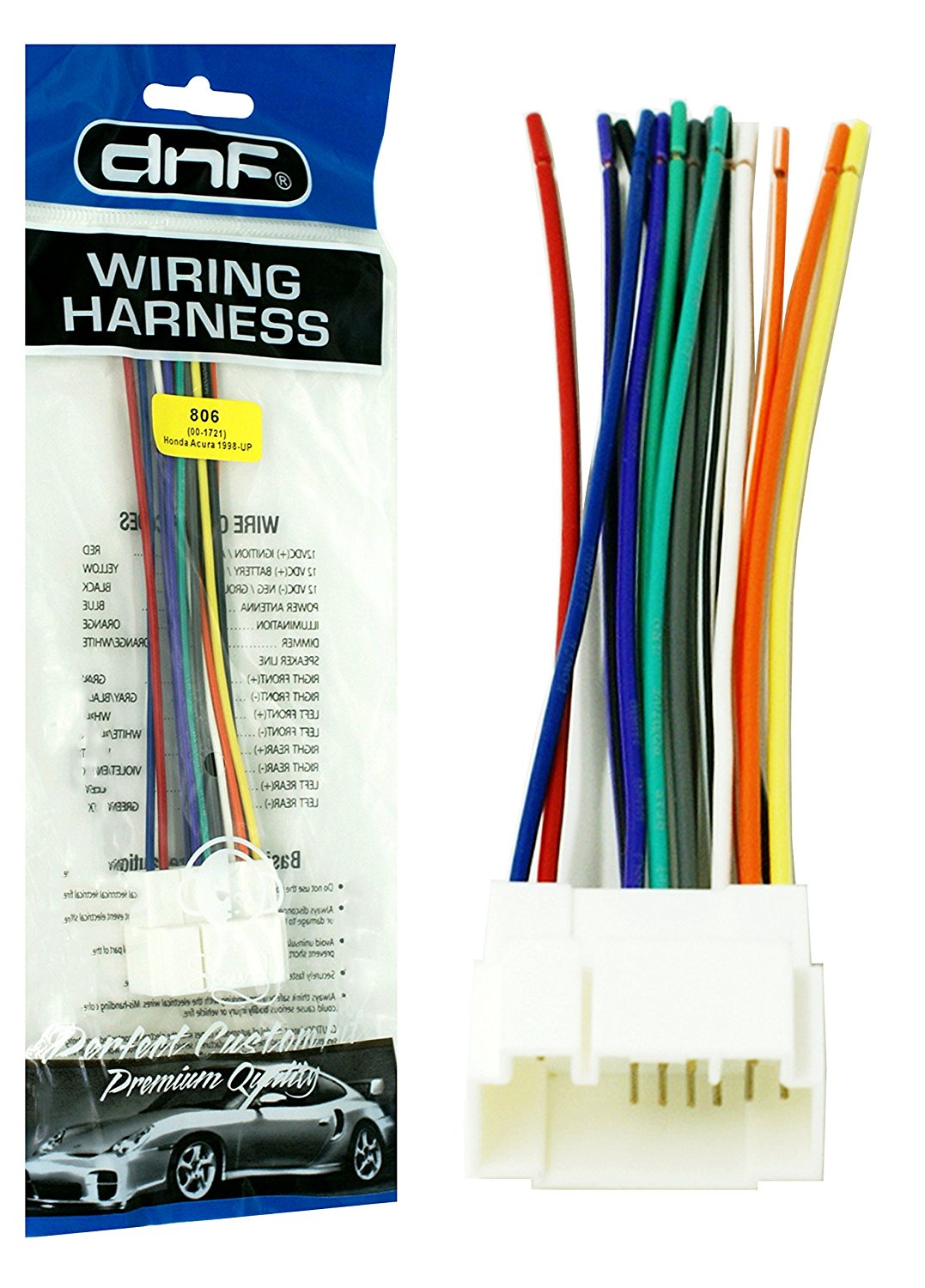 DNF Wiring Harness for Select Accord and Select Prelude Stereos + Radio  Adapters (70-1721) - 100% Copper Wires! - Walmart.com