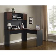 Altra Furniture The Works Contemporary L-Shaped Desk with Hutch, Cherry/Slate Gray