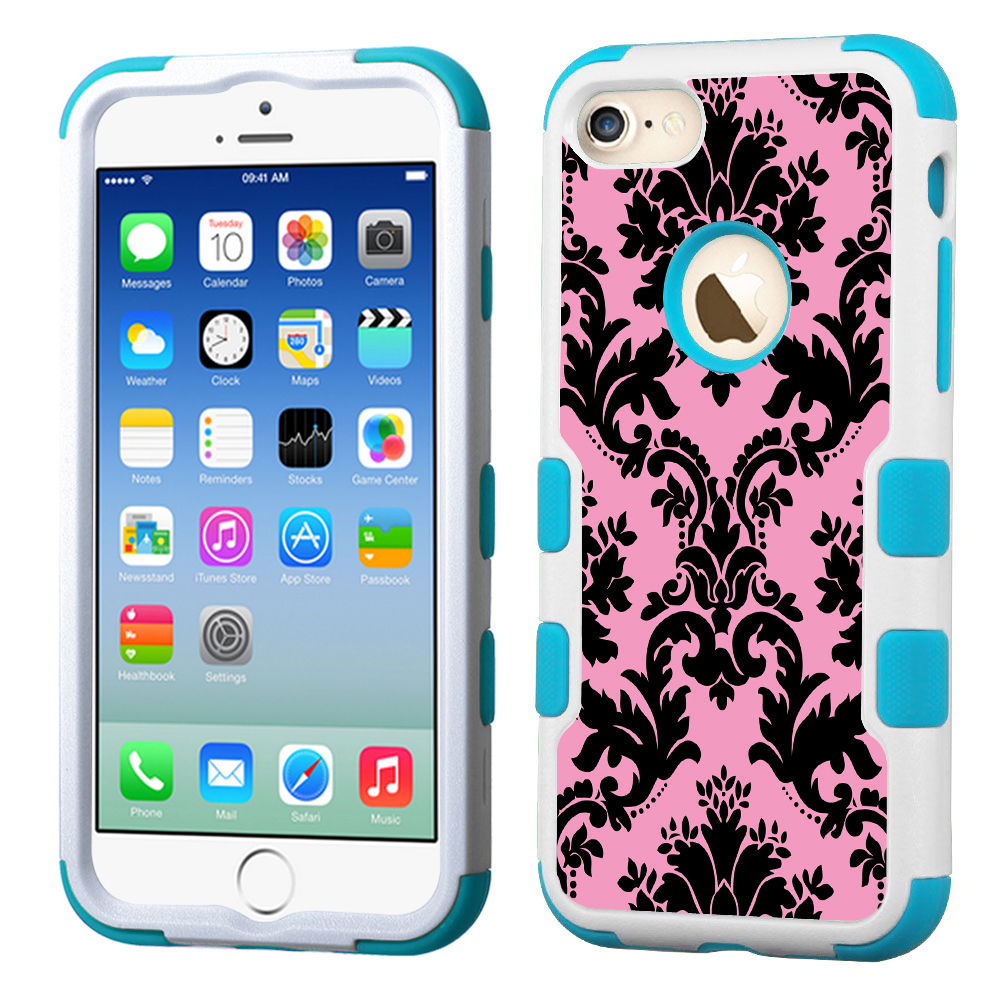 One Tough Shield ® 3-Layer Hybrid Case (White/Teal) for Apple iPhone 7 - Victorian Pink/Black