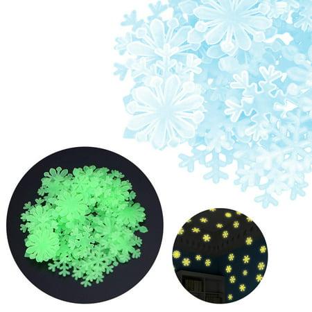 Glow In The Dark Snowflakes (50PC Kids Bedroom Fluorescent Glow In The Dark Snowflake Wall)
