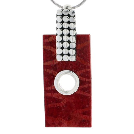 Natural Sponge Coral Necklace - Sterling Silver Natural Coral Rectangular Pendant 1 7/8 inches wide