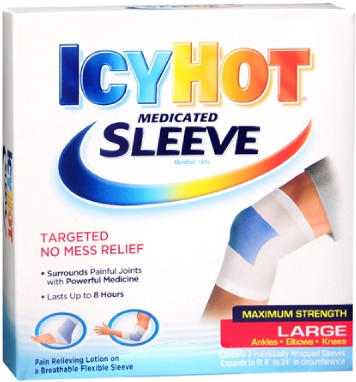 ICY HOT Medicated Sleeve Large (Ankles, Elbows and Knees) 3 Each (Pack of 6)
