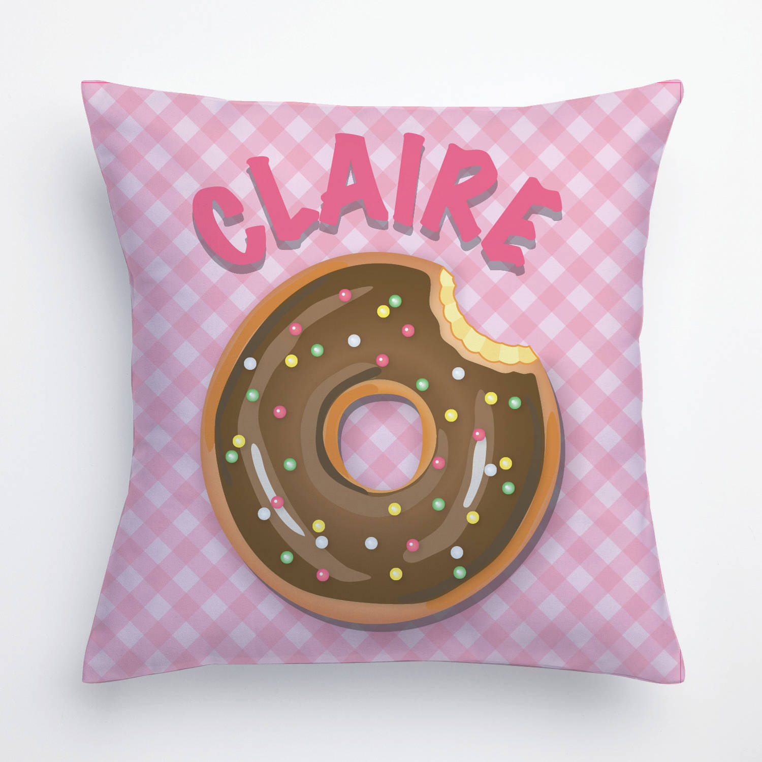 Yummy Donut Personalize Pillow In Yellow, Teal, Pink or Green
